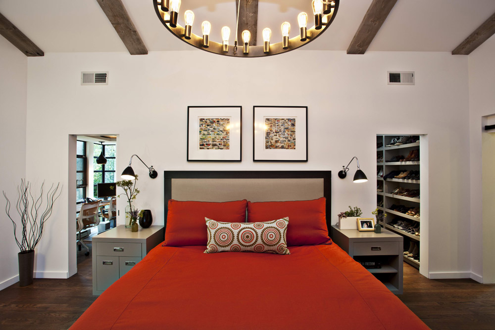 Woodside Residence - Red Master Bedroom